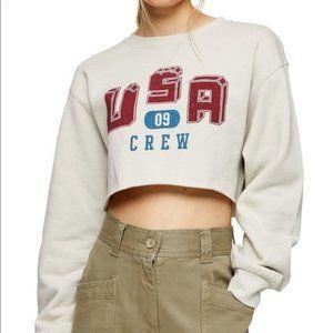 Topshop Cropped USA Crewneck